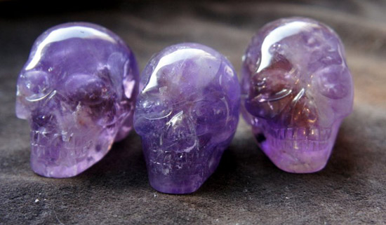 Example of Ametrine Crystal Skulls (a combination of Amethyst & Citrine Quartz) which come from Brazil