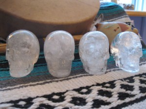 Large Clear Quartz Skulls done by Chinese Carvers for sale seeking their new homes