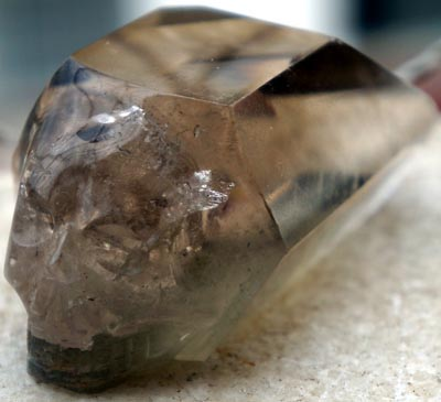 Smoky Pointed Quartz Skull from Brazil with Phantom