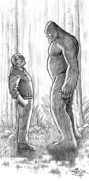 Illustration of Kewaunee Lapersitis meeting a Sasquatch person